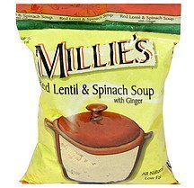 red lentil & spinach soup with ginger Millie's Nutrition info