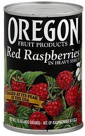 red raspberries in heavy syrup Oregon Fruit Products Nutrition info