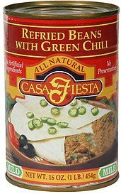 refried beans with green chili mild Casa Fiesta Nutrition info