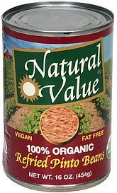 refried pinto beans 100% organic Natural Value Nutrition info