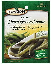 refrigerator or canning mix dilled green beans Mrs. Wages Nutrition info