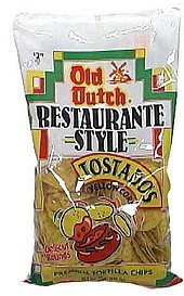 restaurante style premium tortilla chips tostados, yellow corn, deli-cut rounds Old Dutch Nutrition info