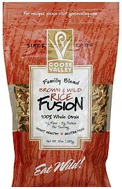 rice fusion brown & wild rice, family blend Goose Valley Nutrition info