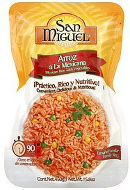 rice mexican, with vegetables, family size San Miguel Nutrition info