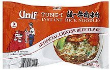 rice noodles instant, tung-i, beef Unif Nutrition info