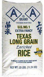rice texas long grain enriched AA Nutrition info