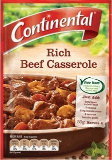 rich beef casserole Continental Nutrition info