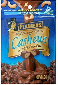 rich roasted whole cashews in milk chocolate Planters Nutrition info