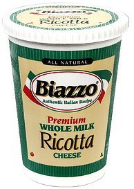 ricotta cheese whole milk Biazzo Nutrition info