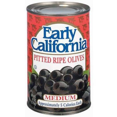 ripe olives pitted, medium Early California Nutrition info