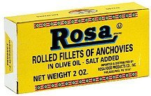 rolled fillets of anchovies in olive oil, salt added Rosa Nutrition info