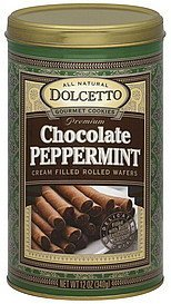 rolled wafers cream filled, premium, chocolate peppermint Dolcetto Nutrition info