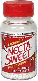saccharin sugar substitute 1/4 grain tablets Necta Sweet Nutrition info