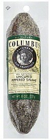 salame peppered, uncured Columbus Nutrition info