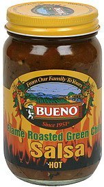salsa flame roasted green chile, hot Bueno Nutrition info