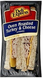 sandwich oven roasted turkey & cheese Deli Express Nutrition info
