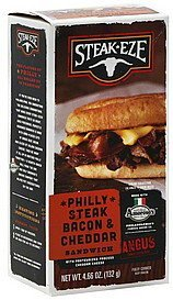 sandwich philly steak bacon & cheddar Steak Eze Nutrition info