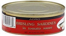 sardines brisling, in tomato sauce Adro Nutrition info