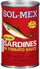 sardines in tomato sauce with chili Sol-Mex Nutrition info
