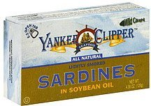 sardines lightly smoked in soybean oil Yankee Clipper Nutrition info