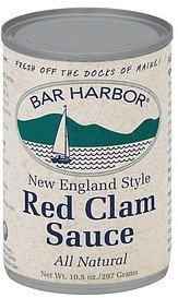 sauce red clam, new england style Bar Harbor Nutrition info