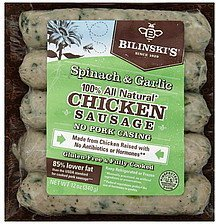 sausage chicken, spinach & garlic Bilinskis Nutrition info