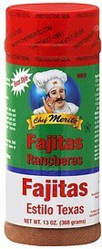 seasoning fajitas, texas style, mild Chef Merito Nutrition info
