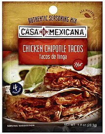seasoning mix authentic, chicken chipotle tacos, hot Casa Mexicana Nutrition info