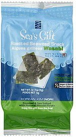 seaweed snack roasted, wasabi Seas Gift Nutrition info