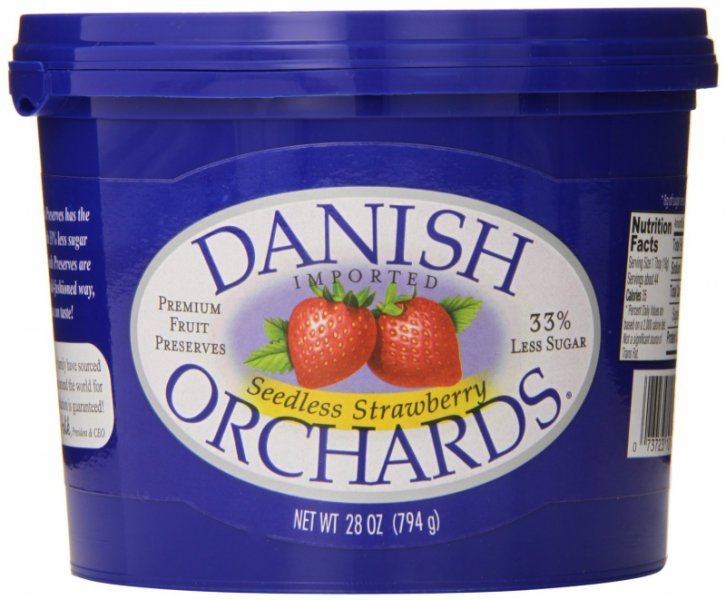 seedless strawberry preserves Danish Orchards Nutrition info