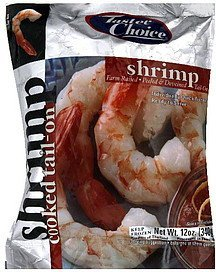 shrimp cooked tail-on, peel & deveined Tastee Choice Nutrition info