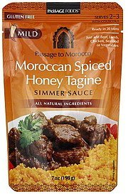 simmer sauce moroccan spiced honey tagine, mild Passage Foods Nutrition info