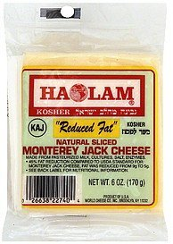 sliced cheese natural, monterey jack, reduced fat Haolam Nutrition info