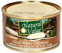 sliced water chestnuts Natural Value Nutrition info