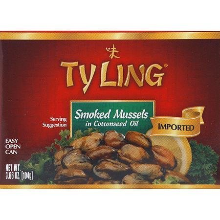 smoked mussels in cottonseed oil Ty Ling Nutrition info