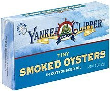 smoked oysters in cottonseed oil, tiny Yankee Clipper Nutrition info