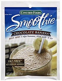 smoothie mix chocolate banana Concord Foods Nutrition info