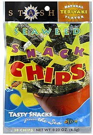 snack chips seaweed, natural teriyaki flavor Stash Nutrition info