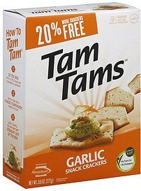 snack crackers garlic Tam Tams Nutrition info