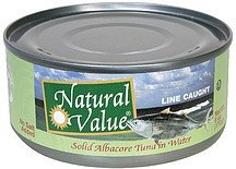 solid albacore tuna in water Natural Value Nutrition info