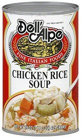 soup chicken rice Dell'Alpe Nutrition info