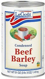 soup condensed, beef barley LeGout Nutrition info