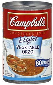 soup condensed, light, vegetable orzo Campbells Nutrition info
