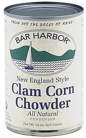 soup condensed, new england style clam corn chowder Bar Harbor Nutrition info