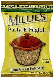 soup hearty bean and pasta, pasta e fagioli Millie's Nutrition info