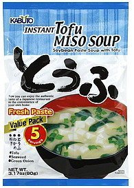 soup instant, miso, tofu, value pack Kabuto Nutrition info