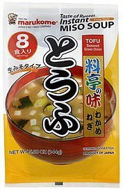 soup miso, instant paste style, tofu seaweed green onion Marukome Nutrition info