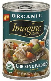 soup organic, chicken & wild rice Imagine Natural Creations Nutrition info