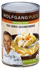 soup organic, free range chicken noodle Wolfgang Puck	 Nutrition info