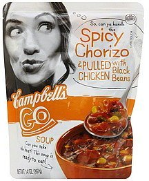 soup spicy chorizo & pulled chicken with black beans Campbells Nutrition info